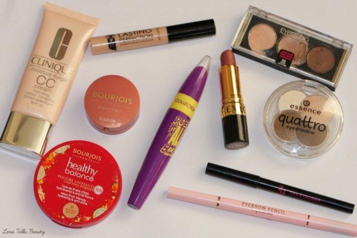 clinique cc cream, bourjois golden lilac blush, collection concealer, essence quattro eyeshadow, daiso eyebrow pencil, revlon smoky rose lipstick,
