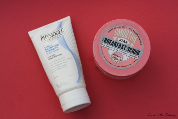 physiogel daily moisture therapy body wash, soap and glory smoothie star the breakfast scrub