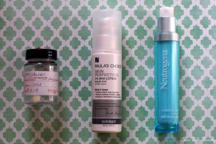 Paula's Choice BHA lotion, Neutrogena Hydroboost spf 15, trilogy moisturiser