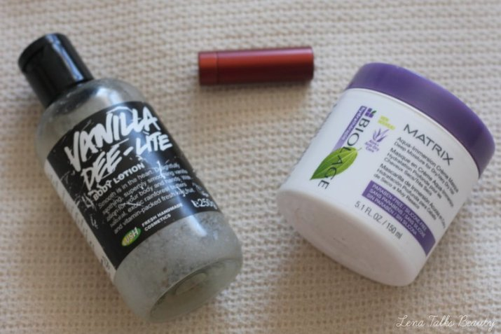 LUSH Vanilla Dee-lite body lotion, Sugar Fresh Lip Balm, Matrix Biolage Aqua Immersion Creme Masque - Lena Talks Beauty