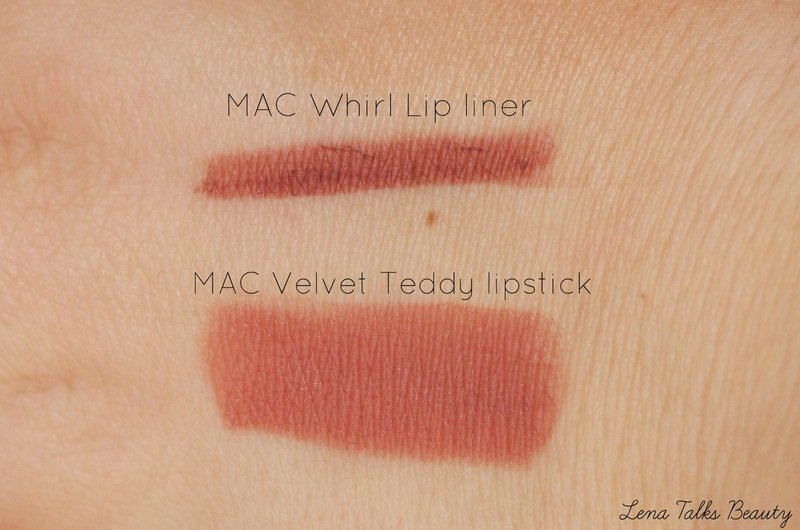 MAC Velvet Teddy and MAC Whirl Swatches - Lena Talks Beauty