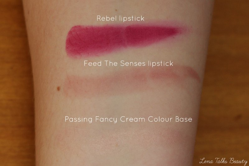 MAC Rebel, feed the senses, passing fancy cream colour base swatch - lena talks beauty