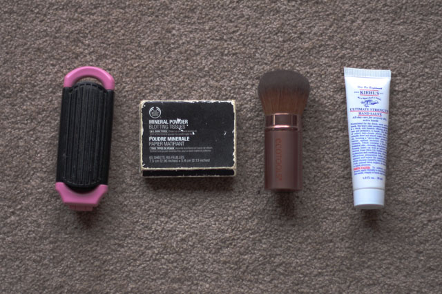 Body shop blotting powder, ecotools kabuki powder brush, kiehls ultimate strength hand salve