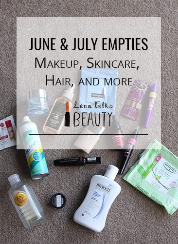 Reviews of all of the products I used up during June and July - from Batiste, Clinique, Simple, Collection, Trilogy, Rimmel, Lush, The Body Shop, Hask, Neutrogena - Lena Talks Beauty
