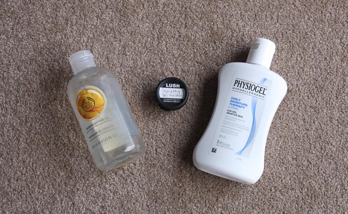 The Body Shop Mango Shower Gel, Lush Sympathy for the Skin body lotion, Physiogel Daily Moisture Therapy lotion - Lena Talks Beauty