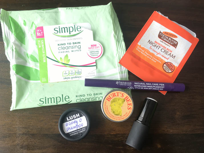 Simple makeup remover wipes, burts bees cuticle butter, lush daddy o, living nature lip balm, benecos cuticle oil, palmer's night cream