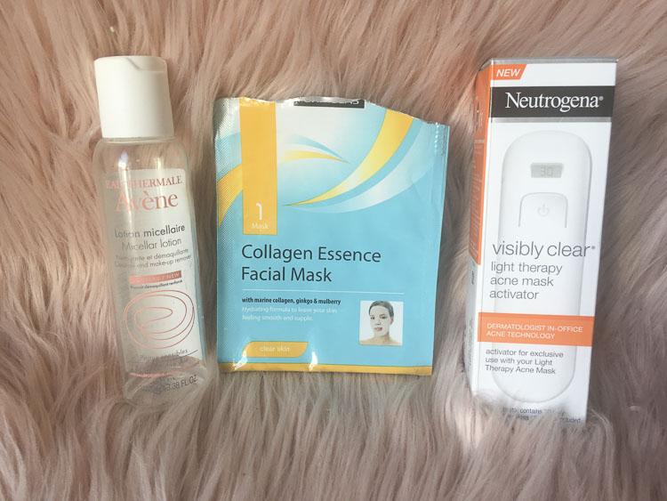 Avene micellar water, Beauty Formulas collagen essence sheet mask, neutrogena light mask - lena talks beauty