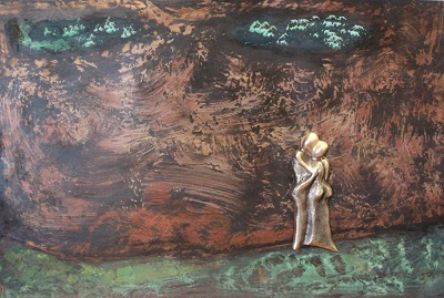 bronzebillede_kunst_bronzeskulptur_lene_purkaer_stefansen_varemaerkebeskyttet_Silhuet_af_omsogsfulde_kaertegn