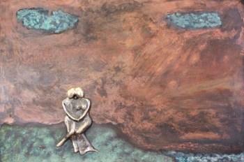 bronzebillede_kunst_bronzeskulptur_lene_purkaer_stefansen_varemaerkebeskyttet_Et_kaerligt_pusterum_ved_havet