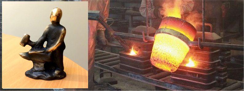 Smed -bronzeskulptur til en håndværker