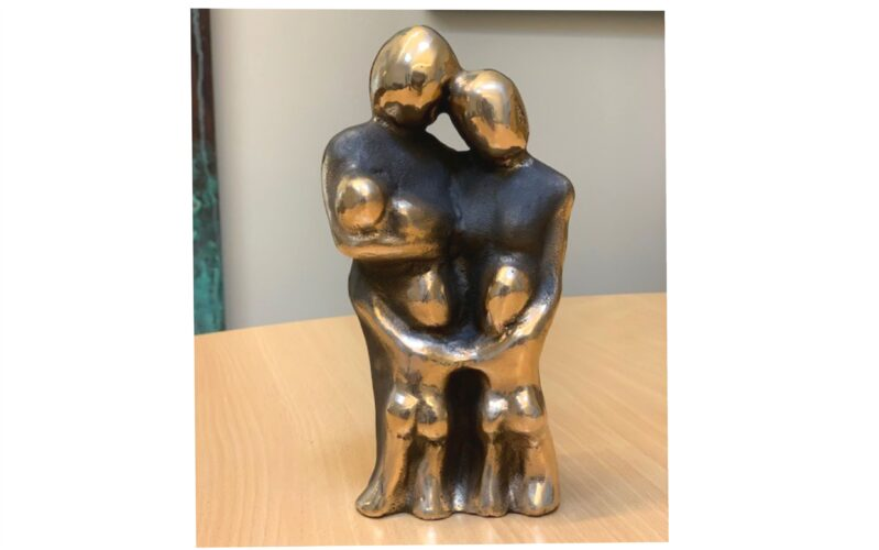 unika bronzeskulptur familie med tre børn, jeg ønsker mig, vores familie vores kærlighed gaven til mor og far