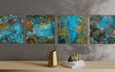 Kvadratiske bronzebilleder 20*20 cm – Små Farverige Fantasier, sæt dem fri!