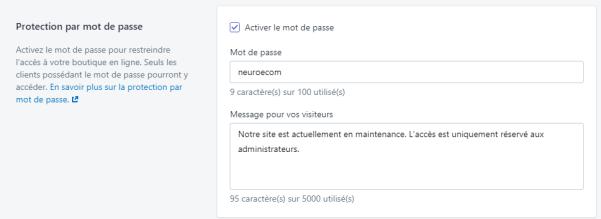 activer mot de passe shopify