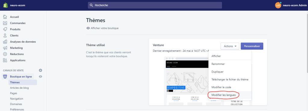 modifier les langues pour Retirer solde sur shopify
