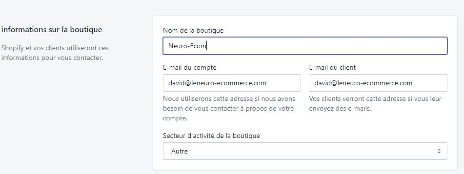 modification du nom de la boutique sur shopify