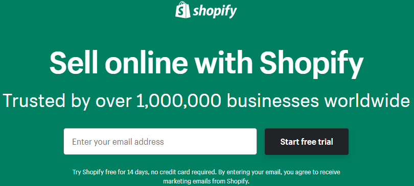 Shopify gratuit 14 jours formulaire d'inscription