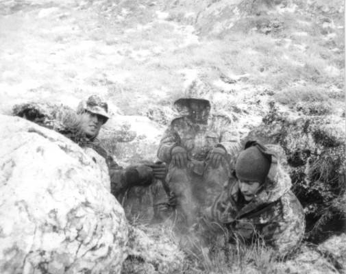 British Gurkhas on a captured Argentinian position in the Falklands Malvinas Islands.