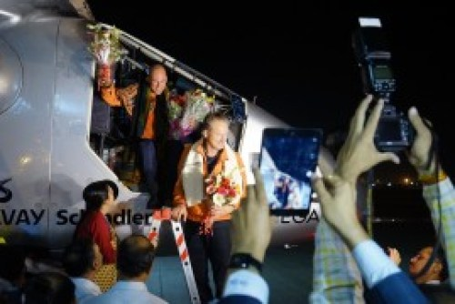Solar Impulse lands in Ahmedabad, India