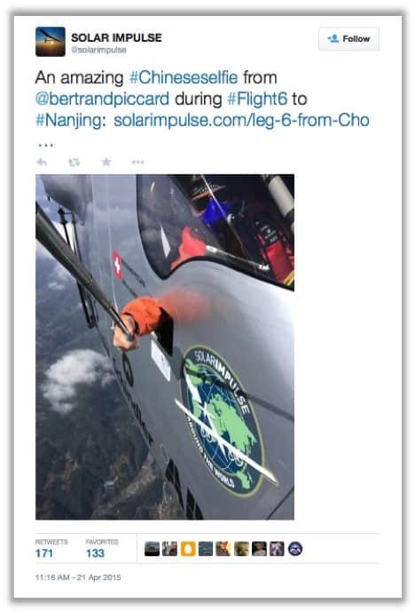 Solar impulse selfie China