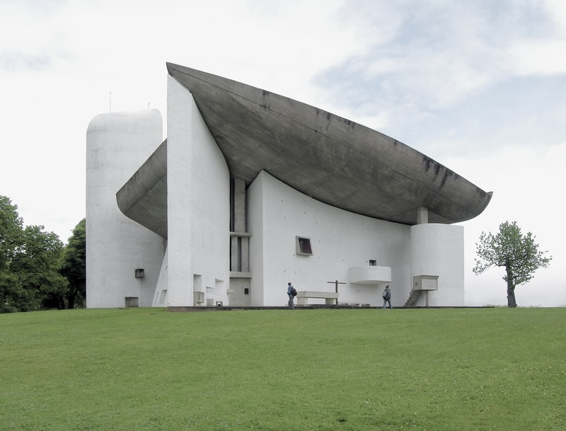 Le Corbusier's iconic chapel in Ronchamp in Alsace in France