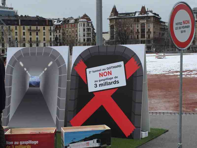 Opposition to 2nd Gotthard tunnel - Source Facebook (NON au 2e tunnel routier au Gothard)