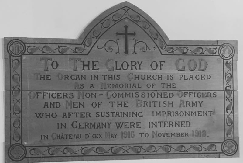 Church plaque in Chateau d'Oex