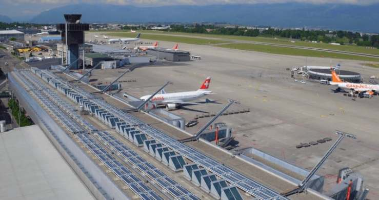 Solar panels on the roof of Geneva Airport