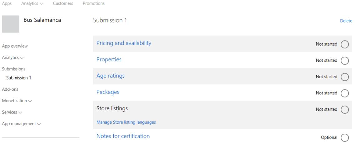 Formulario de subida de nuestra aplicación a la Windows Store