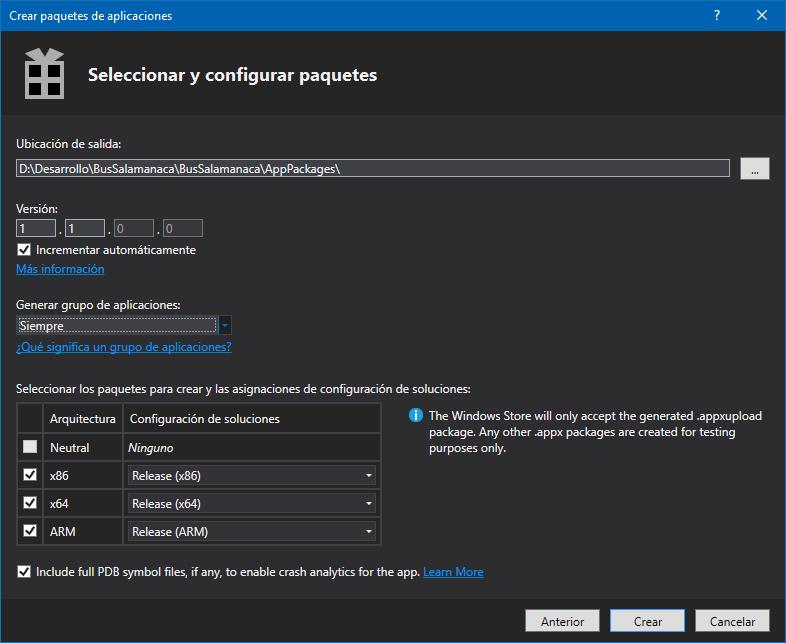 Empaquetando nuestra aplicación para la Windows Store