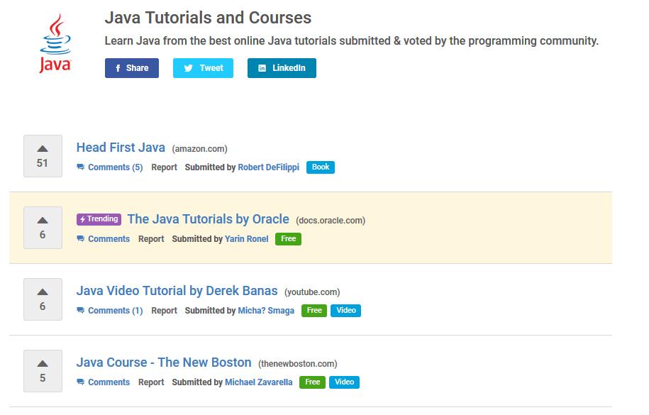 Buscando recursos de programación gratis para Java en Hackr.io