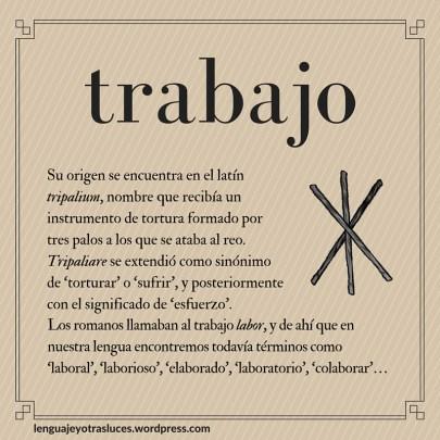 Etimologia trabajo. Origen palabras