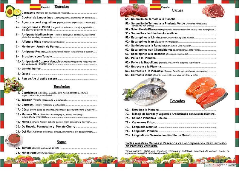 ejemplo menu restaurante lenguaje y otras luces