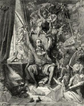 Don Quijote leyendo. Grabado de Gustav Doré