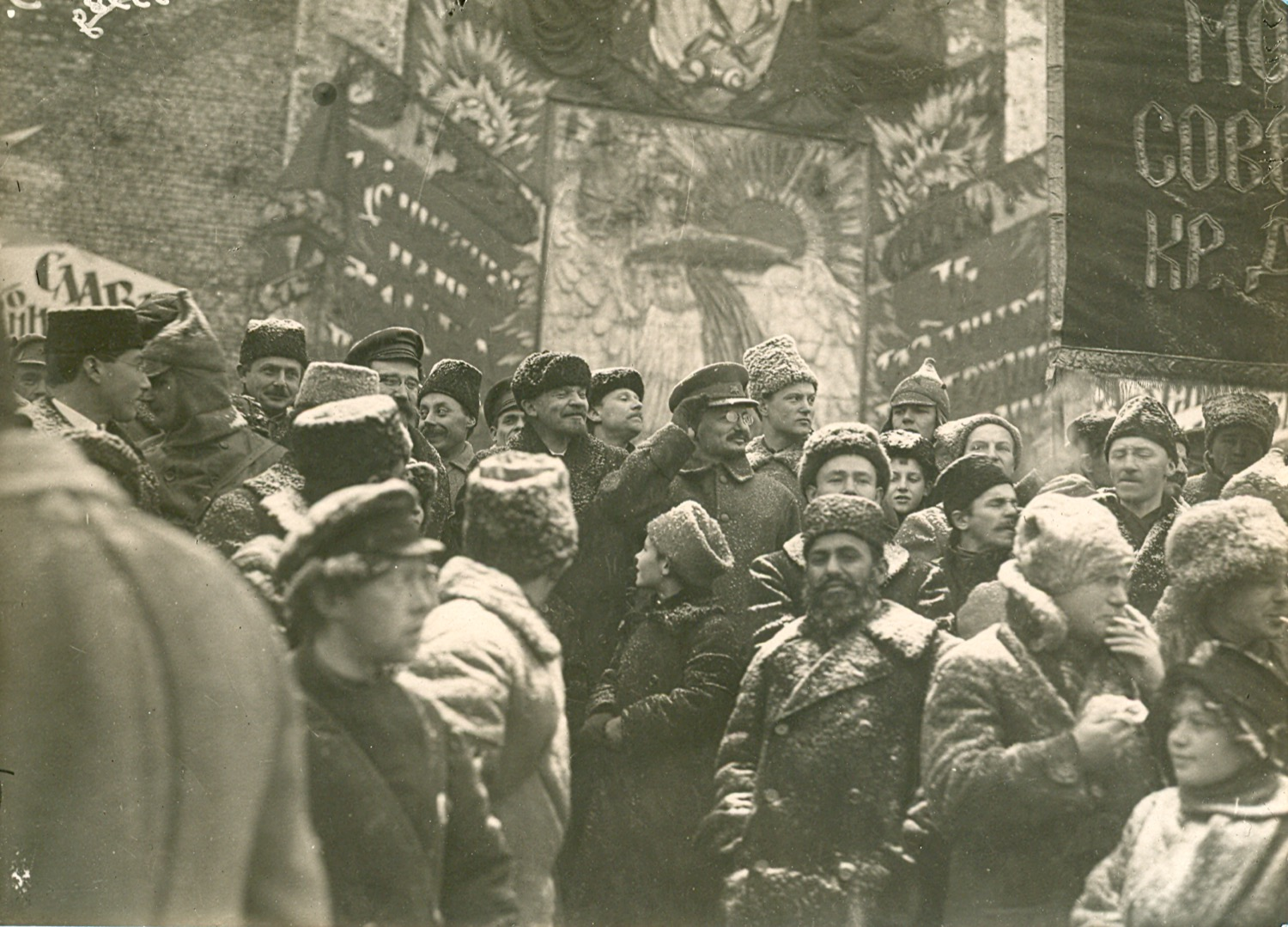 Photo. V. I. Lenin on Red Square (at a memorial plaque) during a demonstration of workers dedicated to the second anniversary of the Great October Socialist Revolution. RSFSR, Moscow. November 7, 1919. Photographer N. Alexeev