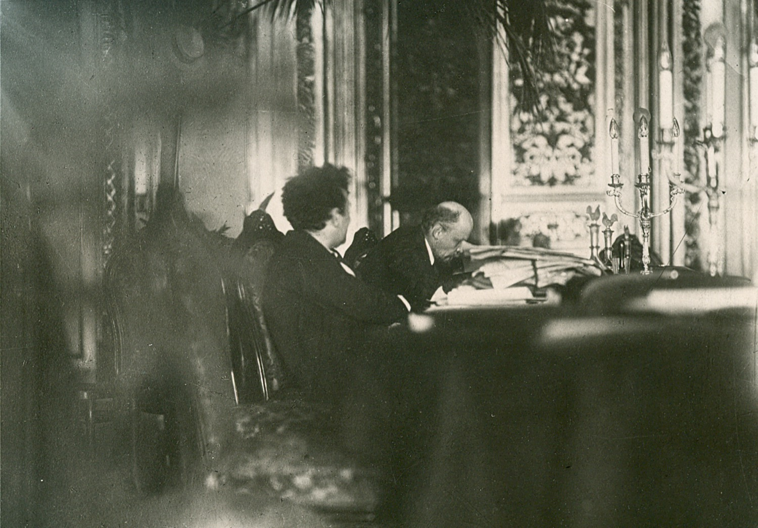 Photo. V. I. Lenin and G. E. Zinoviev in the Presidium of the Second Congress of Comintern in the St. Andrew's hall of the Kremlin. RSFSR, Moscow. July 23 – August 6, 1920. Photographer V. K. Bulla