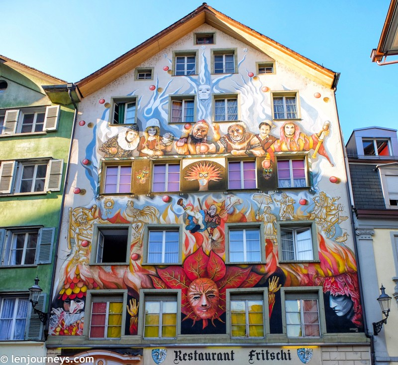 Colourful fresco in Lucerne Old Town