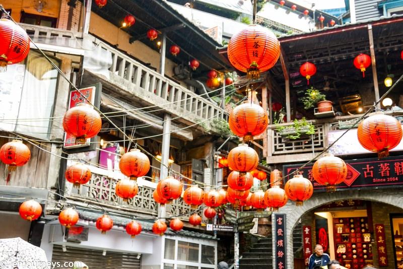 Red lanterns in Jiufen's town square