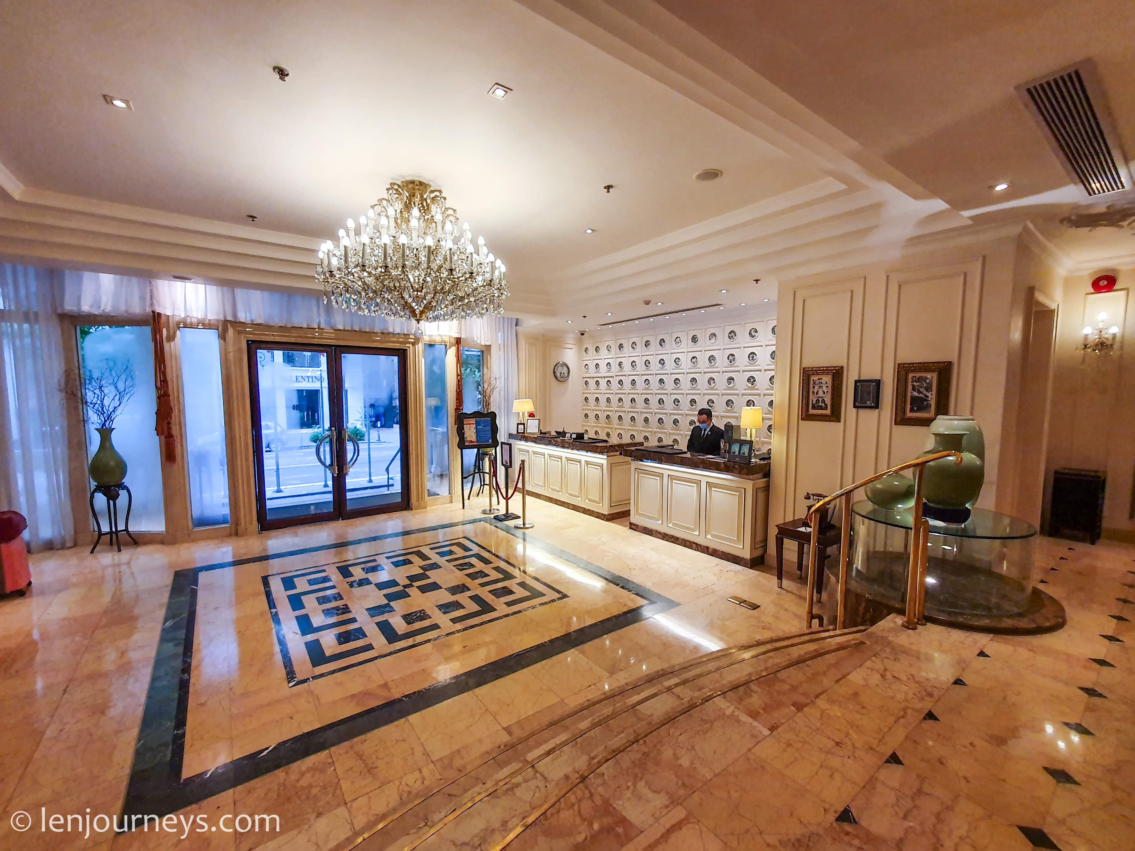 White marble lobby of Sofitel Legend Metropole