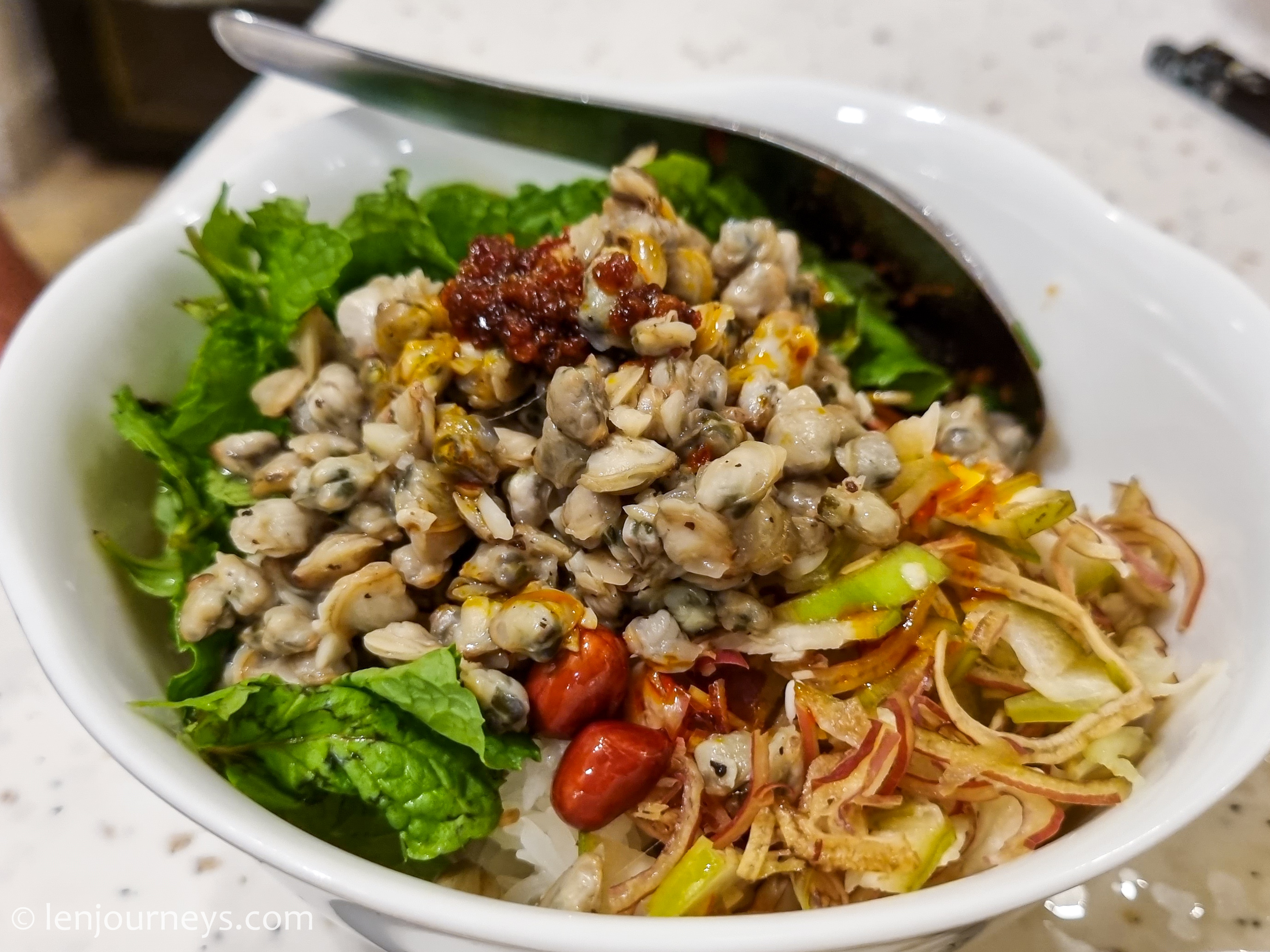 Cơm hến, rice mixed with baby clams
