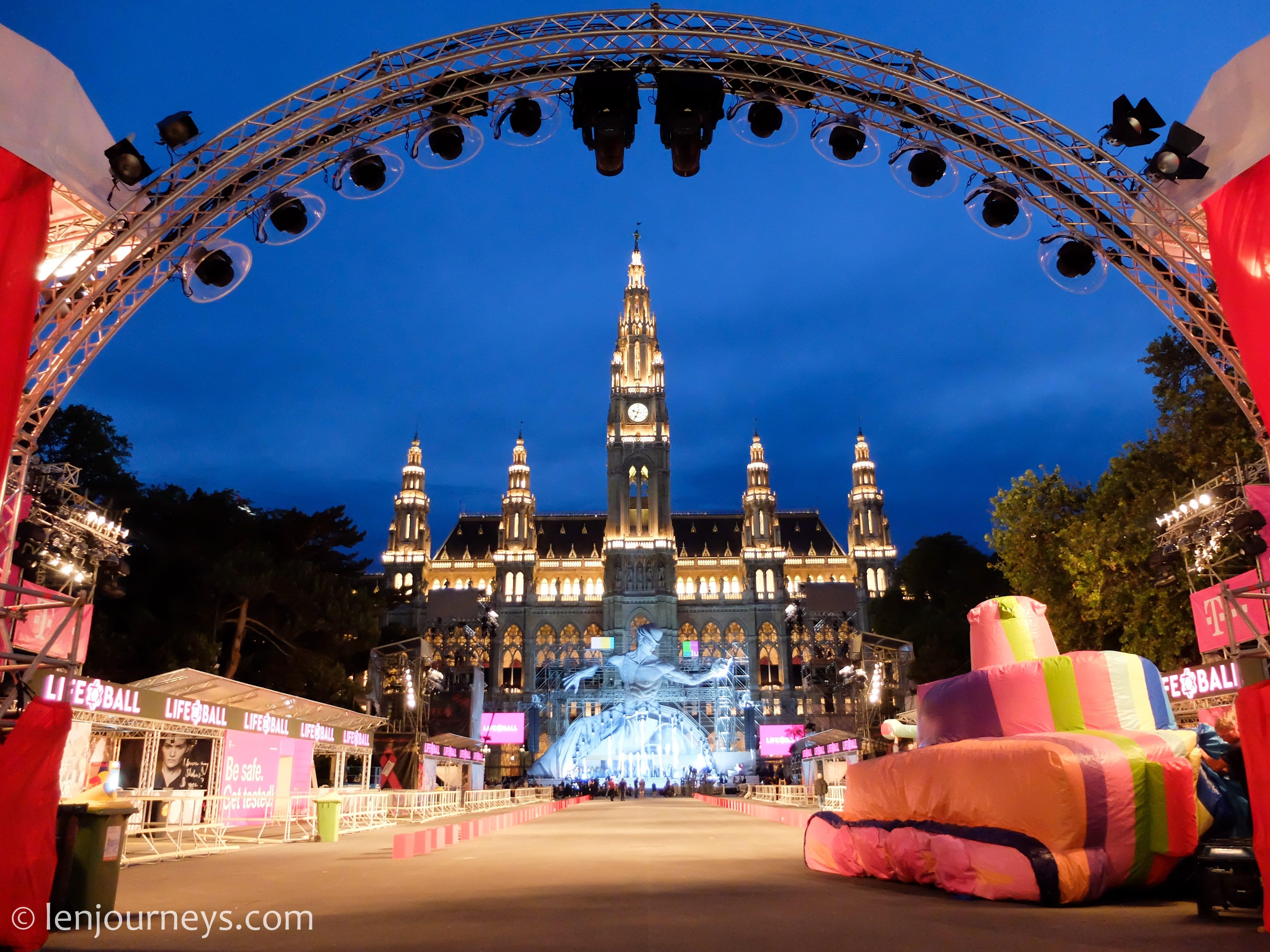 Vienna Cityhall during Life Ball