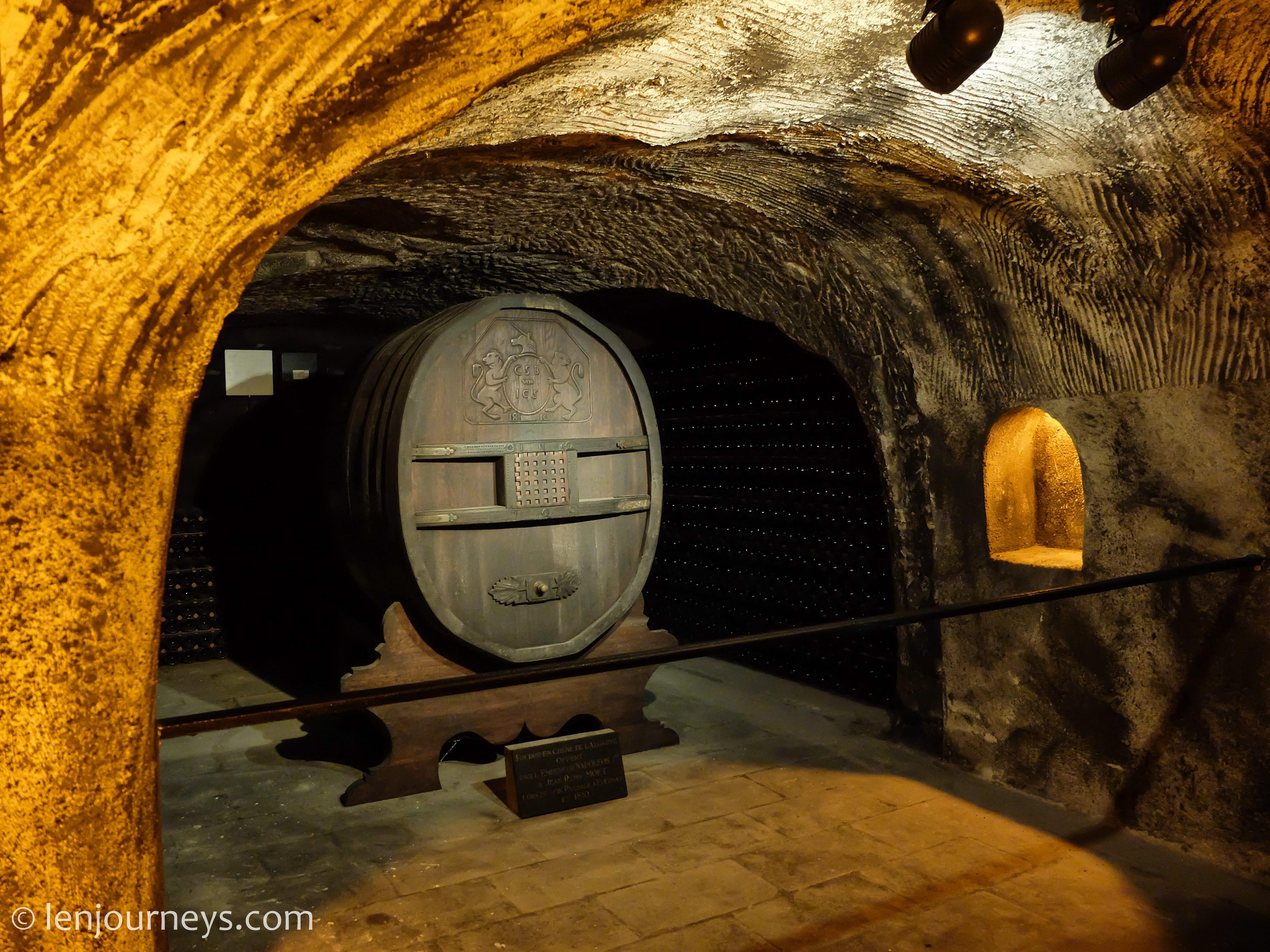 Wine barrel in Moët and Chandon Wine Cellar