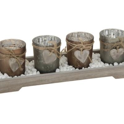 Svícen sklo 4ks na dřevěném tácku