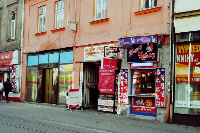 famous Obchodná street, packed with fast-food shops and various uncontrolled signage. photo: Lenka Hamosova