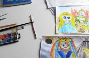 ilustrácie, farby, štetce, ceruza guma