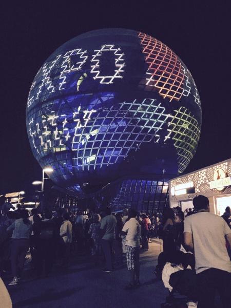 nočná projekcia na kazašskom pavilóne, EXPO 2017, Astana, Kazachstan, Nursultan