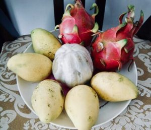 dragon fruit, mango, pomelo