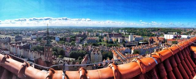 výhľad z Mariánskej baziliky, Gdansk, severné Poľsko