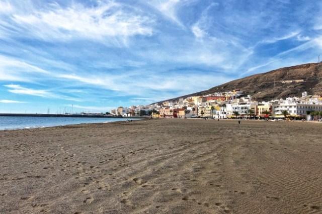 pláž v Grand Tarajal, Fuerteventura, Kanárske ostrovy, Španielsko