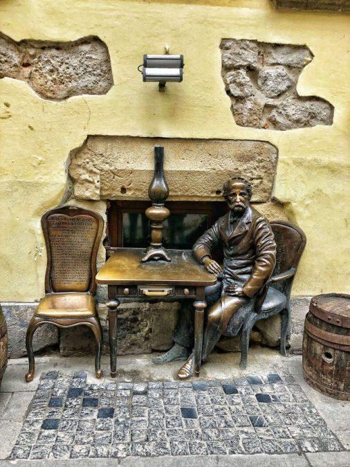 Medená socha pred reštauráciou Gas Lamp, Ľvov, Ukrajina