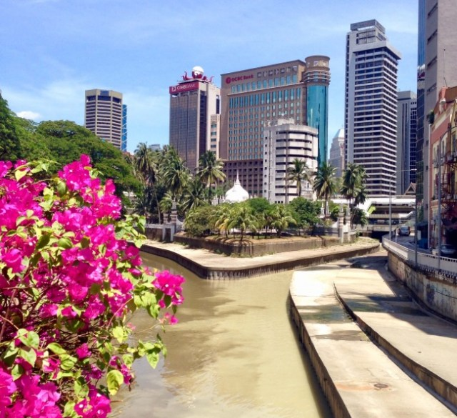 Sútok riek Sungai Gombak a Sungai Klang, Kuala Lumpur, Malajzia